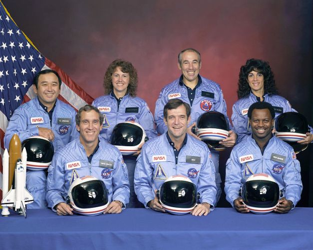 Ellison S. Onizuka, Sharon Christa McAuliffe, Greg Jarvis, and Judy Resnik, Michael J. Smith, Dick Scobee, and Ron McNair.